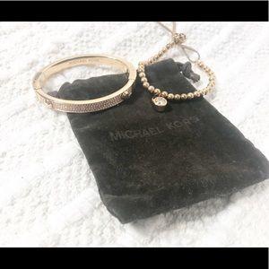 MICHAEL KORS Rose Gold Pave' Cuff Bracelet Set